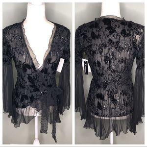 Komarov NWT Black evening wrap blouse